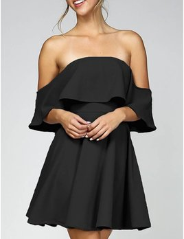 Blooms In The City Ruffled Off the Shoulder Dress 5002