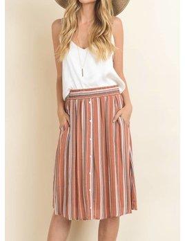 Le Lis Stripe Button Skirt 60276