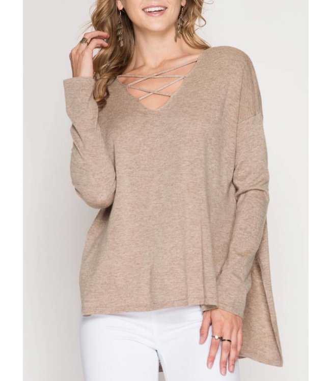 She&Sky Thin Criss Cross Sweater 3004