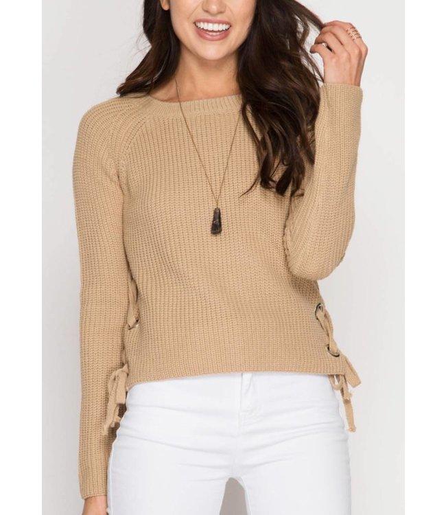 She&Sky Side Lace Up Sweater 4819