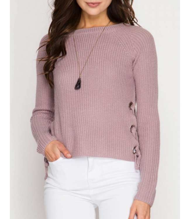 She&Sky Side Lace Up Sweater 4819
