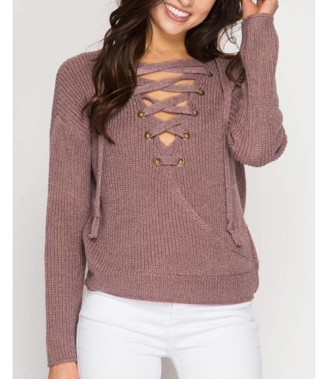 She&Sky Open Back Lace Up Sweater 4825