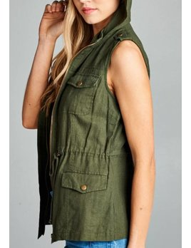 Chocolate USA Linen Cargo Vest 8446