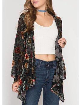 Burn Out Velvet Kimono 5617