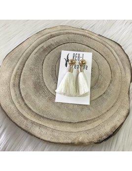 REBL Creative Stud Tassel Ivory