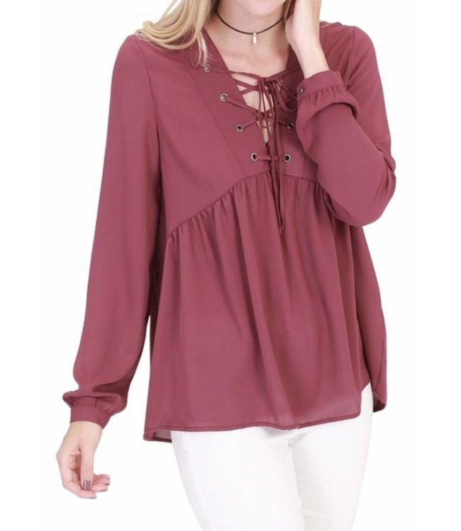 Lace Up Long Sleeve Top 028