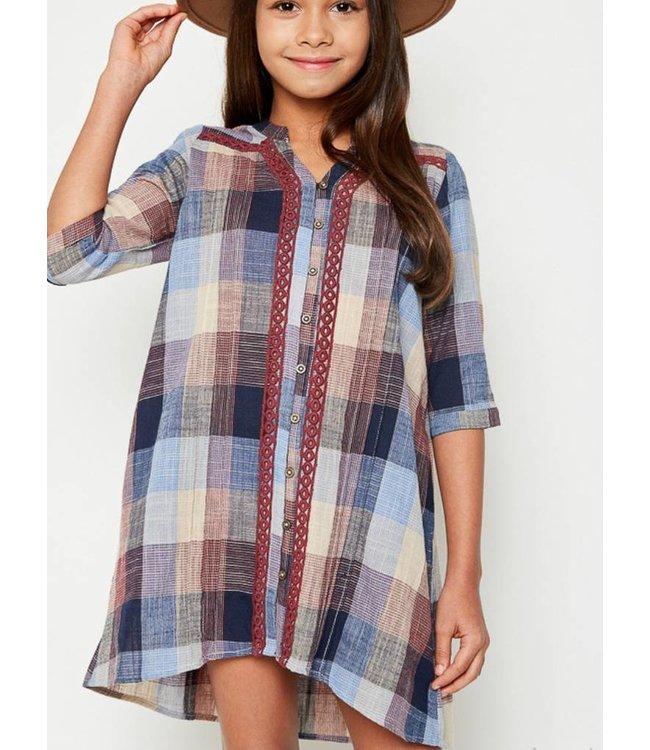 Kids Plaid Shirt Dress 6032