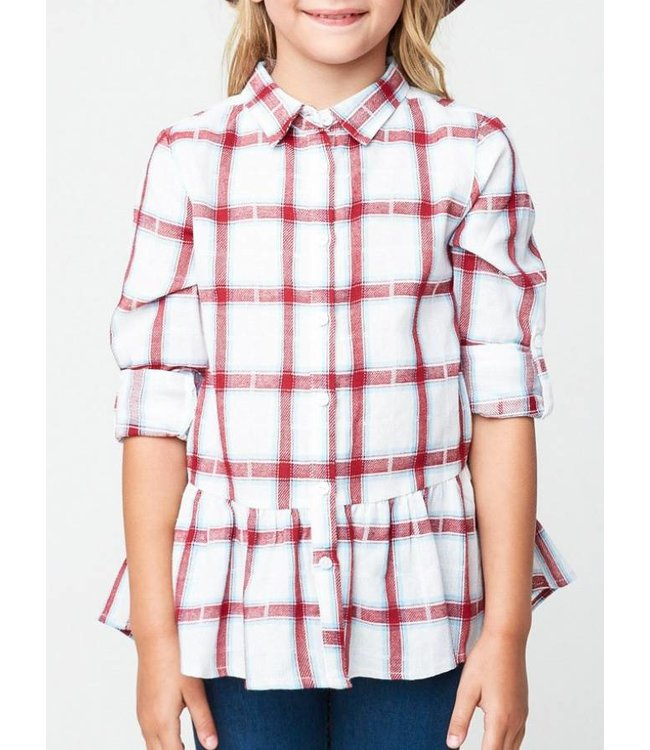 Drop Hem Plaid Button Up Top 2322
