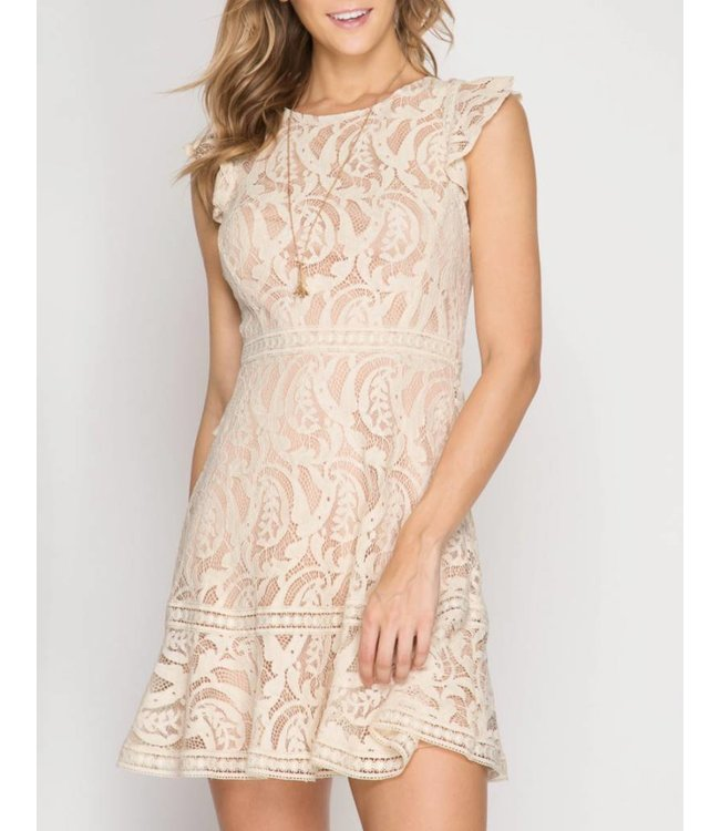 Criss Cross Lace Dress 5781