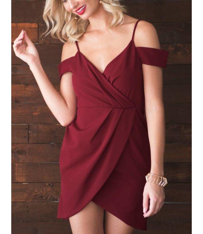 Cold Shoulder Wrap Dress 5754