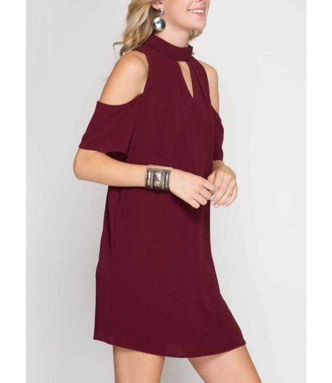 Cold Shoulder Shift Dress 5923