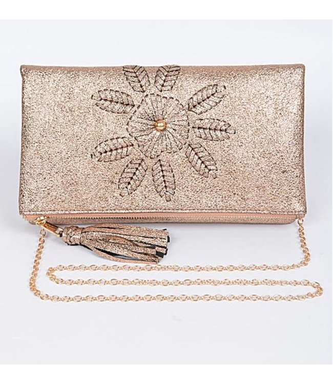 Stitched Shimmer Clutch 5752