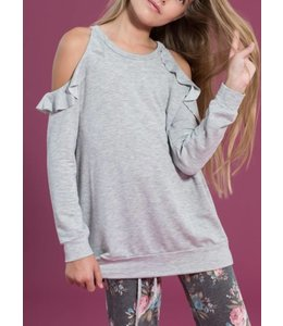 Kids Ruffle Cold Shoulder Top 2456