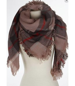 Plaid Scarf  Pink 582