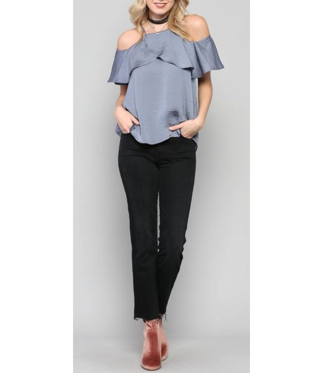 Cold Shoulder Ruffle Top 337