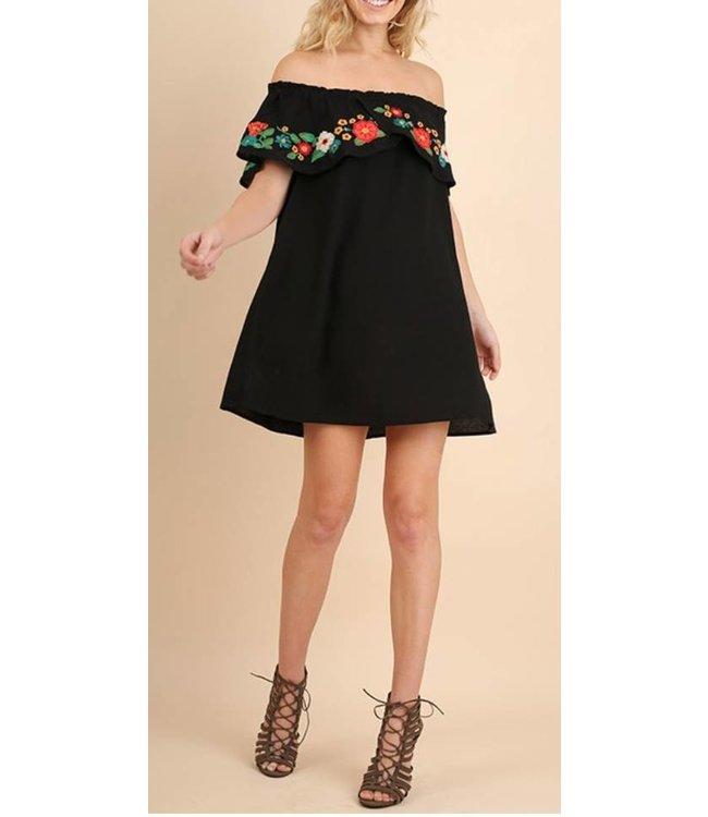 Floral Embroidered Off Shoulder Dress 3810