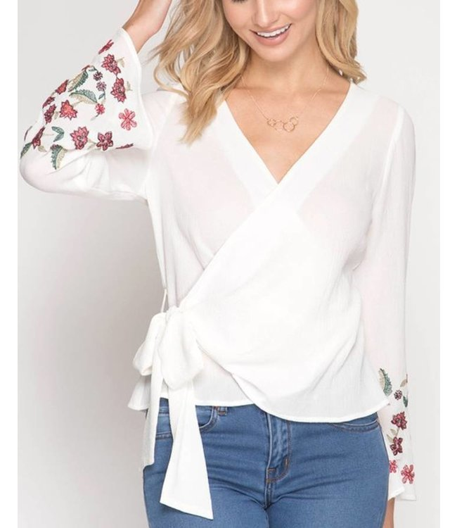 Wrap Embroidered Top 6424