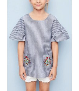 Embroidered Ruffled Tunic  5218