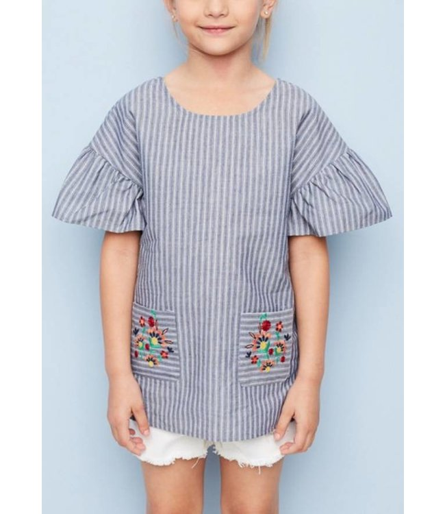 Kids Embroidered Ruffled Tunic  5218