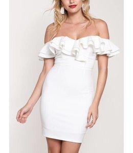 Ruffle Off The Shoulder Dress 8692