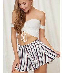 Peach Love Cream Stripe Shorts 71055
