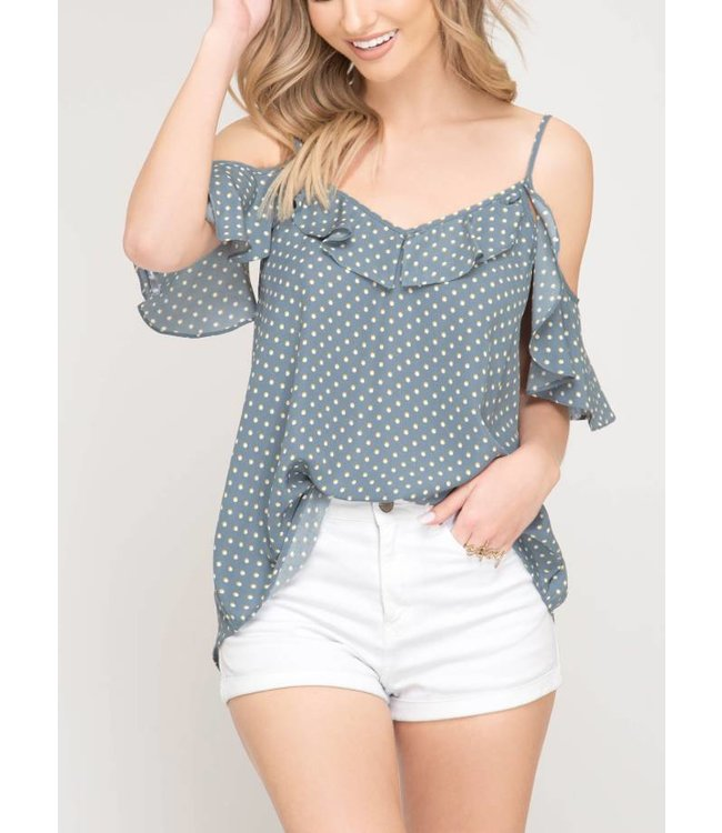 Cold Shoulder Ruffle Top 7300
