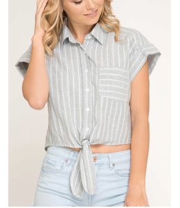 de50b45ca7301 SS Button Down Stripe Top 7436