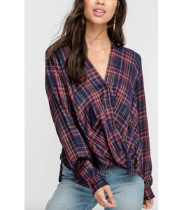 LSH Button Down Plaid Top 13575