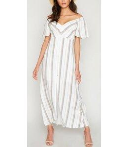 HLA Stripe Button Down Maxi Dress 6558
