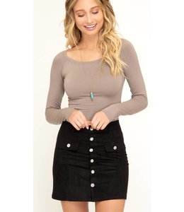 SS Button Down Suede Skirt 7660