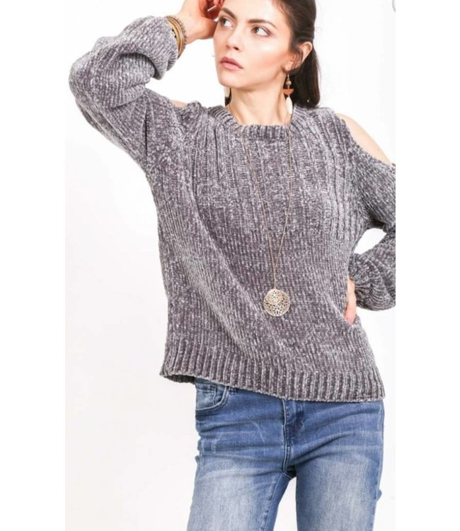 VJ Cold-Shoulder Knitted Sweater 1288