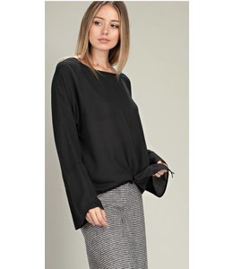 MS Neck Front Tie Long Sleeve Woven Top 12357