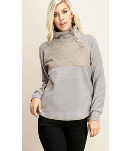 Shoe Shi Fleece Quilted Pullover 10643