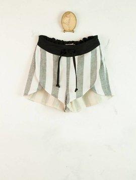 Popelin Black & White Striped Shorts