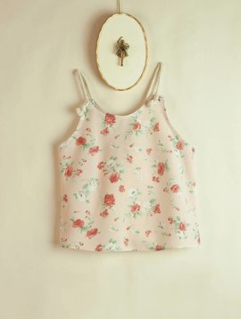 Popelin Floral Blouse With Straps