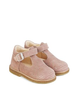 Angulus T-Bar Suede Mary Jane - Dusty Rose