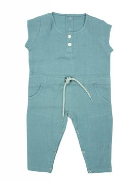 La Petite Collection Linen Jumpsuit Horizon Blue
