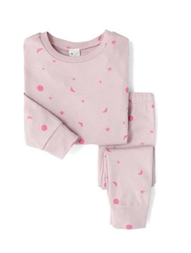 Sleepy Doe Organic PJ Set - Pink W/Neon Moons