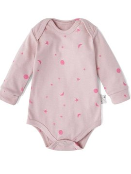 Sleepy Doe Organic Baby Bodysuit - Pink w/ Neon Moons