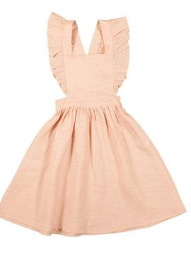 Hubble + Duke Ruffle Pinafore Dress - Blush Linen