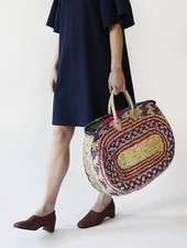 Moroccan Oval Straw Bag - Multicolor