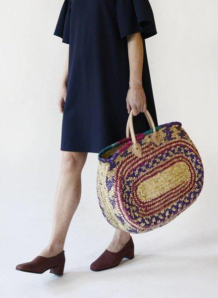 Moroccan Oval Straw Bag - Multicolor