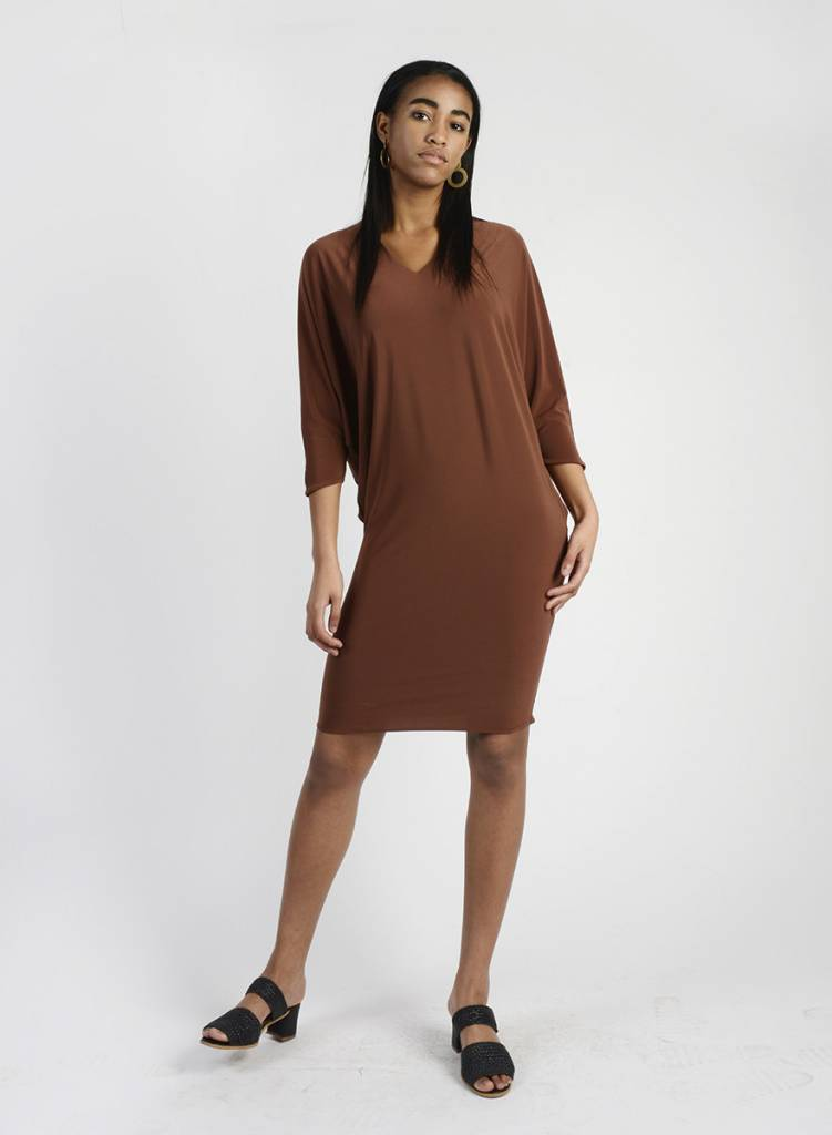 MiMi Frocks V Neck Dolman Dress