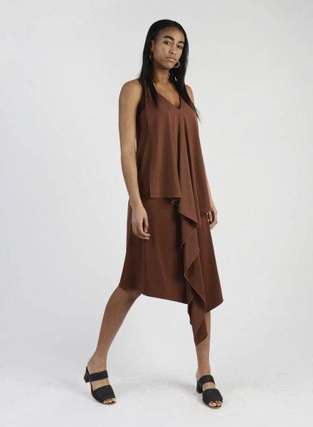 Long Drape Back Dress - Cognac