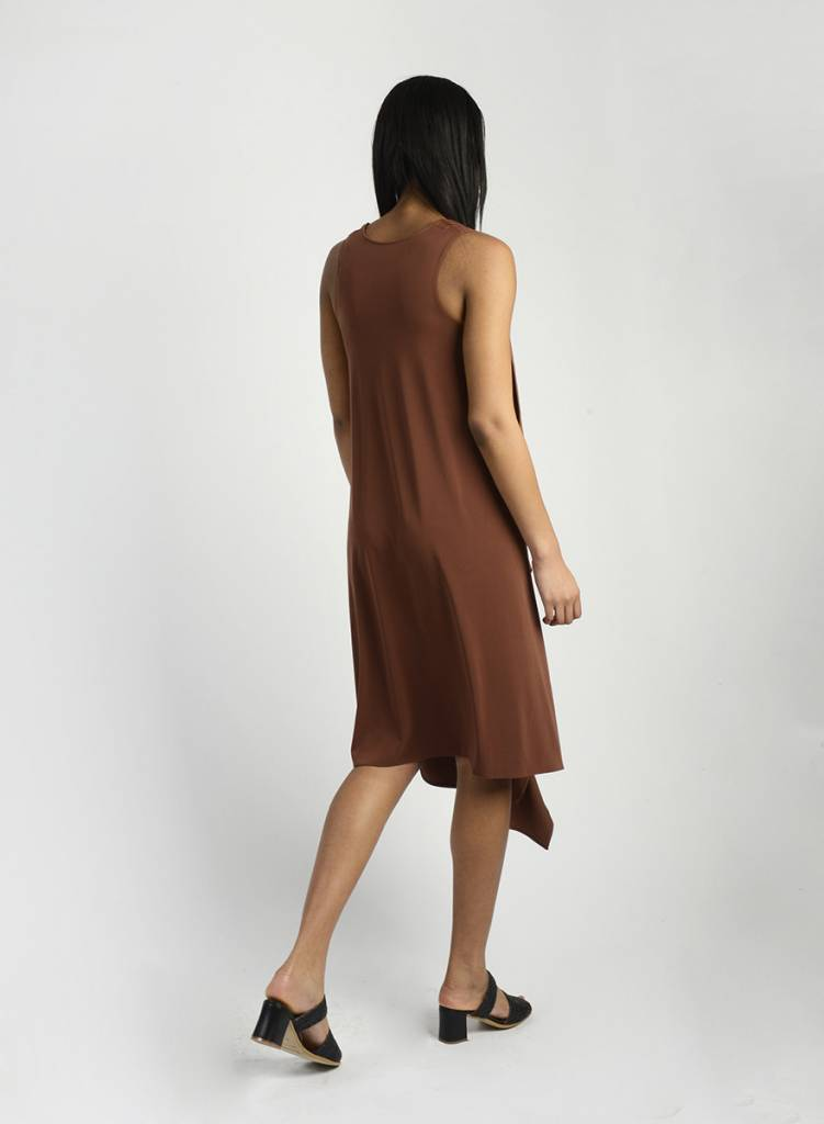 Long Drape Back Dress - Cognac