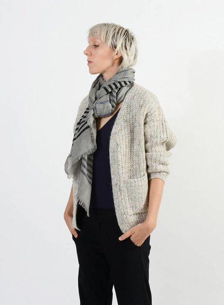 Bloom & Give Bella Scarf Grey Stripe