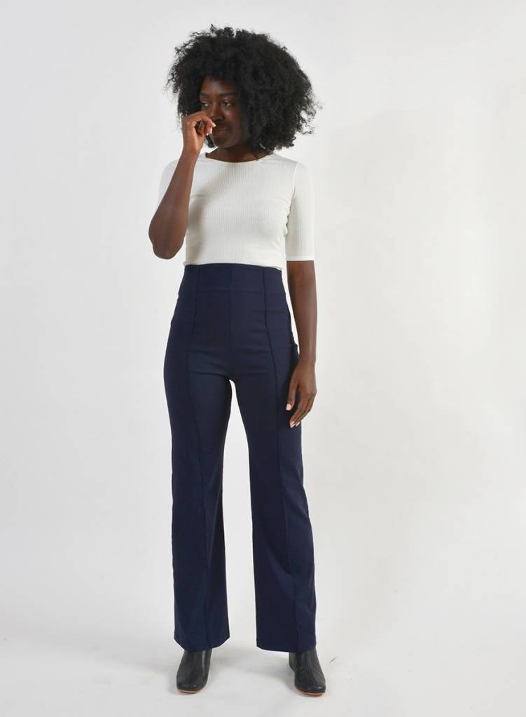Pin Tuck Pant - Navy