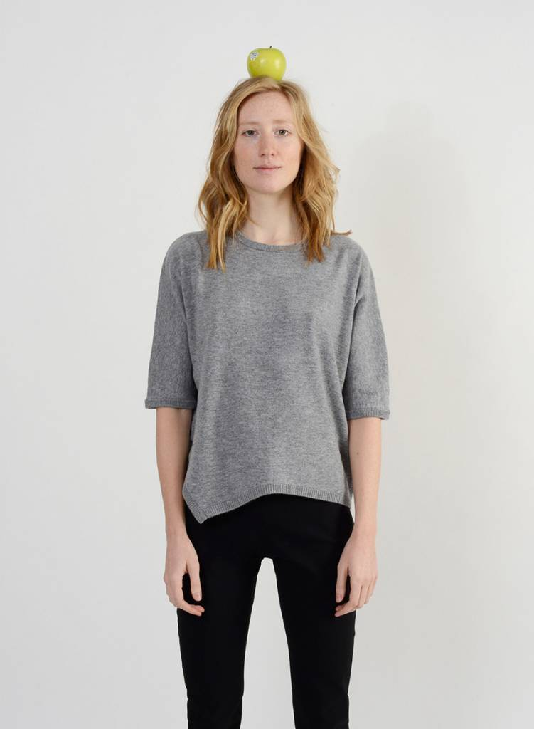 Short Side Slit Sweater - Limestone