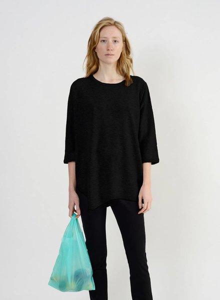 Long Side Slit Sweater - Black