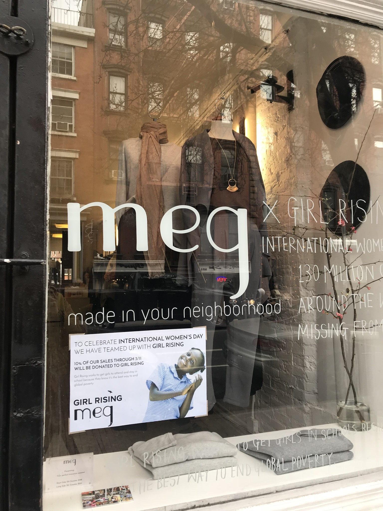 East Village Meg with Girl Rising Window Display